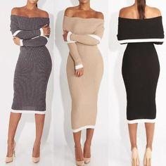 Sexy Women Off Shoulder Slinky Pencil Dress