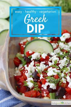 Greek Dip is a delicious, healthy appetizer that's made with cream cheese, feta, and lots of vegetables. Easy Appetizer Recipes, Healthy Appetizers, Dip Recipes, Fall Appetizers, Healthy Recipes, Healthy Snacks, Snack Recipes, Greek Dip, Kraft Recipes