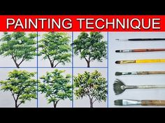 This is a basic painting tutorial on how to paint different trees using different types of brushes. In this tutorial you will learn on painting 6 different t. Basic Painting, Simple Acrylic Paintings, Acrylic Painting Techniques, Beginner Painting, Painting Videos, Acrylic Art, Painting Tips, Artist Painting, Spring Painting