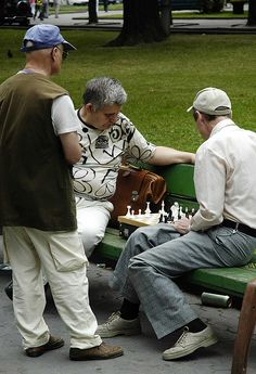 Lviv Ukraine - the main city park is full of chess players