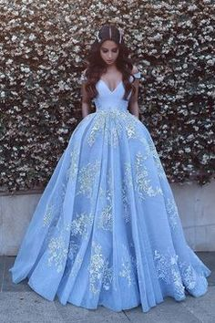 Light Blue Tulle Ball Gown Prom Dresses, Lace Appliques Off Shoulder Prom Gowns, Ball Gowns, Blue Wedding Dress, Light Sky Blue Tulle Prom Dress With Appliques Princess Prom Dresses, V Neck Prom Dresses, Prom Dresses 2018, Long Prom Gowns, Ball Gowns Prom, Blue Wedding Dresses, Cheap Prom Dresses, Ball Dresses, Gown Wedding