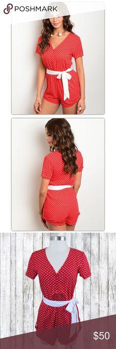 Selling this NWT Red & White Polka Dot Retro Romper Rockabilly on Poshmark! My username is: doyoueventhrift. #shopmycloset #poshmark #fashion #shopping #style #forsale #Pants