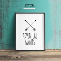 Adventure Awaits, Printable Art, Inspirational Quote, Typography Art, Digital Prints, Black and White Art, Wall Art Prints, Digital Download