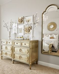 Feminine and glam master bedroom with mirrored and gold accents, gray master bedroom Grey And Gold Bedroom, Glam Master Bedroom, Gold Bedroom Decor, Gray Bedroom, Bedroom Colors, Gold Bedroom Accents, Bedroom Ideas, Master Bedrooms, Master Suite