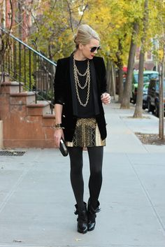 Nab this party-perfect black + gold Club Monaco skirt via @Blair Eadie #sp
