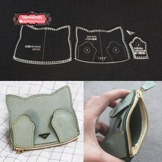 Leather CAT Card clip / Wallet / Purse Acrylic Template – 1 size for choose, Leathercraft Pattern Leder. Leather Diy Crafts, Leather Bags Handmade, Leather Projects, Handmade Bags, Leather Craft, Leather Wallet Pattern, Sewing Leather, Crea Cuir, Diy Wallet