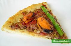 """Recipe for Pizza """"Elena"""" with Asparagus, Mussels and Tuna   Italian Food Recipes   Genius cook - Healthy Nutrition, Tasty Food, Simple Recipes"""