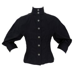Chanel 08P Black Cotton Button Down Blouse | From a collection of rare vintage blouses at http://www.1stdibs.com/fashion/clothing/blouses/