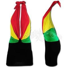 This mini-dress has a draped adjustable tie back neckline. The top has a plunging low neckline done in Rasta colors. The back has a deep V cut.
