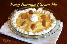 Easy Banana Cream Pie Recipe using just four ingredients. Can be made in minutes and is so good! ZagLeft