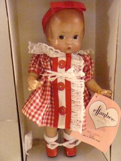 Patsy Doll Circa 1933 with Stand, 1996 Efanbee Doll Company, NRFB All Original