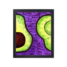 Perfect Avocado Print - Purple and Green Kitchen Wall Art Decor - Cook, Chef, Vegetarian, Food or Fruit Lover Gift Green Kitchen Walls, Kitchen Wall Art, Kitchen Decor, Decorating Kitchen, Wall Murals, Wall Art Decor, 3d Wallpaper For Walls, Wallpaper Stickers, Avocado Art