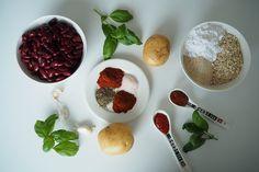 Pitsiniekka | Kidney Bean Ball Ingredients Kidney Beans, Pesto, Plum, Cereal, Fruit, Cooking, Breakfast, Food, Red Beans