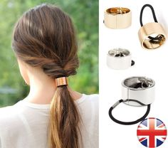 HAIR CUFF METAL PONY TAIL RING WRAP GOLD CIRCLE GOTHIC PUNK HOLDER ELASTIC DANCE