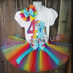 Handmade My Little Pony Rainbow Dash Tutu Set Rainbow Dash Birthday, Rainbow Tutu, 4th Birthday, Orange Yellow, Blue Green, Purple, Pony Party, Pink Tulle, Heat Transfer