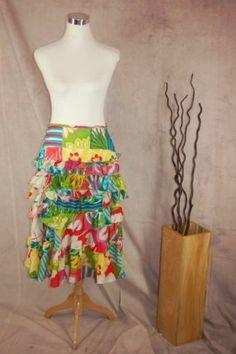 Ralph Lauren Black Label Silk Skirt 2 Tiered Ruffled Multicolored