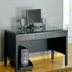 @Overstock - This sleek Geneva desk is made of black-painted MDF and tempered glass with a semi-gloss finish. The manager's desk includes a slide-out hideaway keyboard shelf and a CPU holder with casters.http://www.overstock.com/Home-Garden/Geneva-48-inch-Managers-Desk/6195357/product.html?CID=214117 $203.99