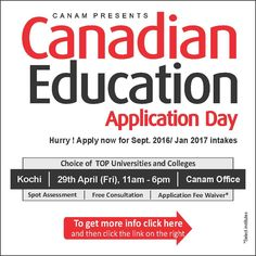 Canadian Education Application Day. For complete information & enrolment, Contact CANAM on - 1800-200-5499 or Register Here http://www.canamgroup.com/maileruniversity.php?name=canadianapp2016  #Studyabroad #StudyinCanada #Canada_Study_Visa #Canada_Study_Visa #CanamConsultants #CanamGroup