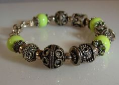 Sterling Silver Bali Bead and Lampwork Beaded Bangle Bracelet Lime Green