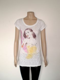 burlesque girl BURN OUT t shirt   white tee yello by librastyle, €15.00