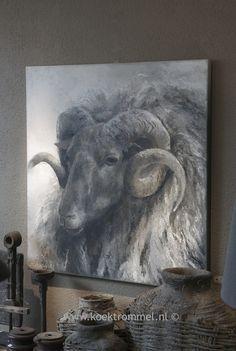 Peinture de tête de belier - Autres Art Gris, Sheep Art, Farm Art, Grey Art, Inspiration Art, Beautiful Paintings, Animal Paintings, Oeuvre D'art, Farm Animals