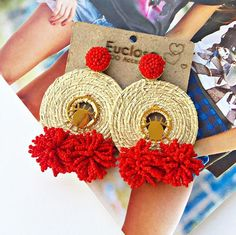 Trendy and Stylish Home-Made Designs of Earrings for All Beautiful to-Be-Brides Fabric Earrings, Diy Earrings, Fashion Earrings, Earrings Handmade, Crochet Earrings, Fashion Jewelry, Textile Jewelry, Fabric Jewelry, Jewellery