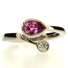 Pear cut pink sapphire ring by Robert Feather http://www.fldesignerguides.co.uk/engagement-ring-designer/robertfeather