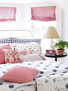 Classy and sassy red, white, and blue bedroom decor. Plus polka dots. Girls Bedroom, Guest Bedrooms, Dream Bedroom, Bedroom Decor, Guest Room, Blue Bedrooms, Pretty Bedroom, Summer Bedroom, Bedroom Ideas