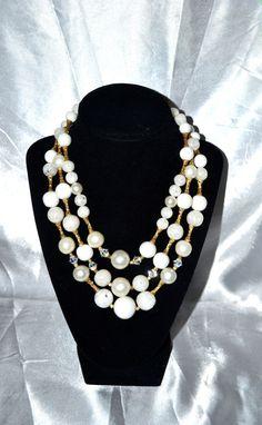 Vintage 1960s Three Strand Art Plastics Necklace by LustfulJewels