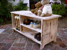 Wood Shoe Shelf Storage Bench - Wooden Furniture - Entryway - Hall - Bookcase