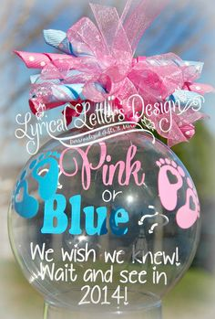 Pink or Blue We're Expecting Ornament by lyricalletters on Etsy, $16.00