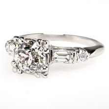 Vintage Diamond Engagement Ring w/ Accents 14K White Gold