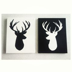Black Deer Head Silhouette Painting so perfect for our room but instead of the black and white i would do accenting colors of the bedding to make our room pop with mine and his initals Deer Head Silhouette, Black Deer, Christmas Cushions, Hand Painted Wine Glasses, Outdoor Crafts, Seed Bead Patterns, Popular Art, Lodge Decor, Diy Crafts For Gifts