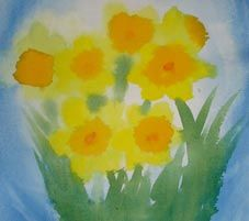 March ~ Daffodils ~ watercolor painting