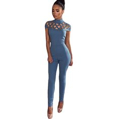 637bc711d0c5b Sexy Club Jumpsuits 2016 Winter Fashion Long Pants Hollow Out Womens  Turtleneck Spandex Black Bodycon Jumpsuit And Rompers-in Jumpsuits from  Women's ...