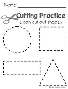 Cutting Practice - Lines and Shapes Preschool Cutting Practice, Cutting Activities, Preschool Writing, Preschool Learning Activities, Preschool Curriculum, Preschool Classroom, Free Preschool, Physical Activities, Physical Education