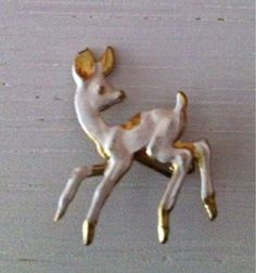 pin jewelry for sale  pin fawn with white lacquered