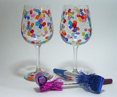 New Years - confetti style painted glasses