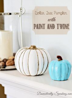 Painted and Twine Pumpkins www.domestically-speaking.com