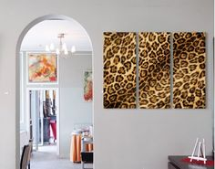 Leopard Wall Decor gorgeous leopard-cheetah fur canvas-style wall panel - set of 3