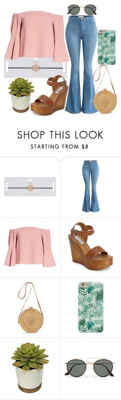 """""""S O F T"""" by mackaboo ❤ liked on Polyvore featuring Miss Selfridge, Topshop, Steve Madden, Ray-Ban, Wedges, flare, choker and offshoulder"""