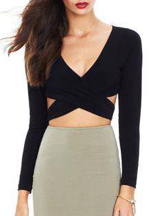 Shop Black Deep V Neck Cutout Blouse online. SheIn offers Black Deep V Neck Cutout Blouse & more to fit your fashionable needs.