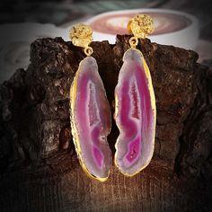 Gypsy Large Gemstone Earrings Aquagemstone by TheEthnicJewels