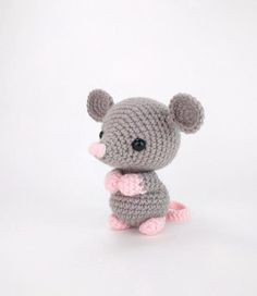 Maxwell the Mouse - Crochet mouse pattern - amigurumi mouse pattern - crocheted mouse pattern - PDF crochet pattern by Theresa's Crochet ShopMeet Maxwell the Mouse! Maxwell is a well-behaved little mouse who will not invade your pantry to nibble thro Crochet Animal Patterns, Stuffed Animal Patterns, Crochet Patterns Amigurumi, Amigurumi Doll, Crochet Animals, Crochet Dolls, Chat Crochet, Crochet Mignon, Crochet Mouse