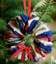 Recycled old sweaters wreaths