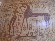 Man with Horse, Geometric, Aegina Mycenaean, Minoan, Man On Horse, Horse Art, Ancient Greek, Ancient Art, Pottery Painting, Painted Pottery, Equine Art
