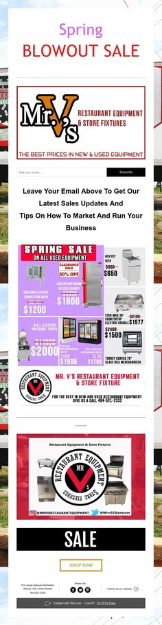 Spring  BLOWOUT SALE M Restaurant, Used Restaurant Equipment, Store Fixtures, How To Get, Good Things, Marketing, Spring, Tips, Counseling