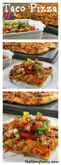 Taco Pizza » Fresh pizza dough, ground taco beef, mozzarella and cheddar cheese, nacho chips all baked and then topped with a delicious fresh salsa. Recipes, Food and Cooking  #tacopizza #pizzarecipes