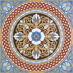 victorian floors | Victorian Floor Tiles Hand Decorated Floor Tiles Palmerston Blue 36 ...