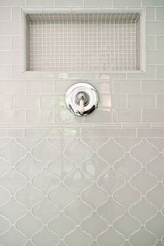 Gorgeous arabesque tile in Bathroom Transitional with Mixed Tile Pattern next to Master Shower alongside Mixed Tile and Walker Zanger Tile - Home Decor Master Shower, Master Bathroom, Shower Bathroom, Bathroom Tiling, Moroccan Bathroom, Neutral Bathroom, Bathroom Vinyl, Shower Niche, Ikea Bathroom